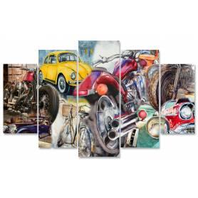 Tableau décoratif - 5 Pces moyens de transport - 85 x 130 cm