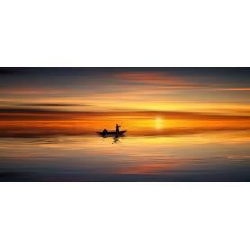 Tableau bâche enduis  coucher mer bateau - 170 x 75 cm