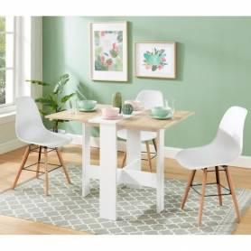 Table à manger pliante - MDF stratifié Blanc et Sonoma Brillant