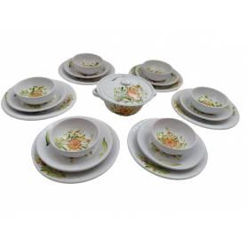 Service à table poterie Fleur orange 36 pièces