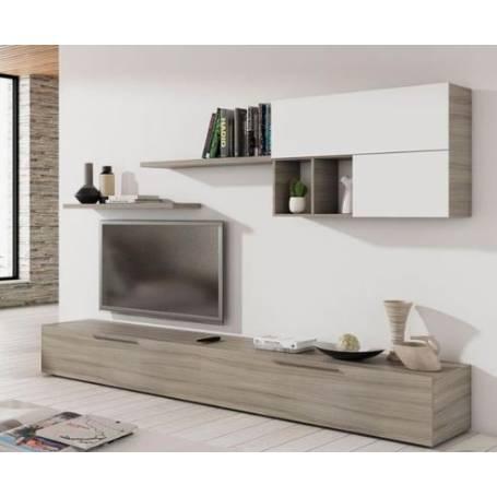 Meuble Tv - Sandra - 200*35 -Bois MDF - Blanc & Chêne