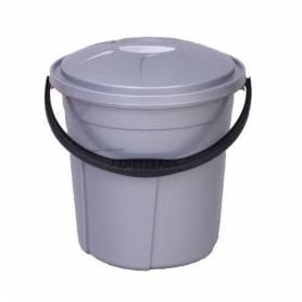 Poubelle Cuisine - Gris - 20L- Conteneur avec couvercle - Plastique robuste