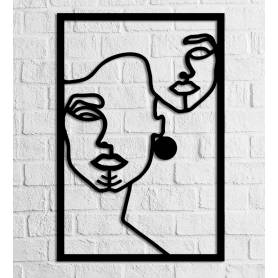 Berber Woman Face – 60/40 cm – en Bois - Noir