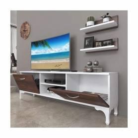 Meuble  TV - Blanc et Chêne