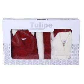 Pack de bain pour Elle & Lui - Blanc & Bordeaux