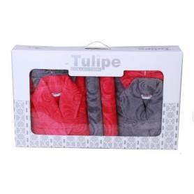 2 Caps De Bain +2 serviettes +2 gants Pour Elle & Lui - Rose&Gris