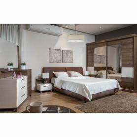 Chambre a coucher Eline - MDF Stratifié - Marron & Beige