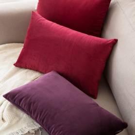 Coussin rectangulaire décoratif - Velours - Rouge