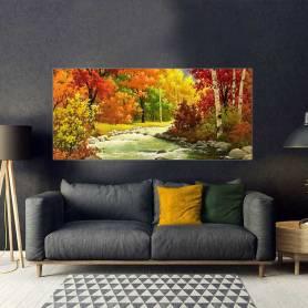 Tableau décoratif bâche forêt peinture 170 x 75 cm