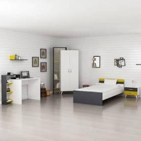 Chambre enfant - MDF Stratifié - Blanc & Jaune