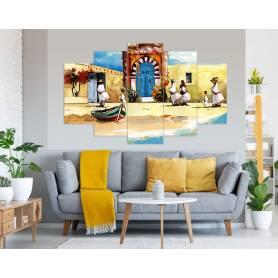 Tableau décoratif - porte sidi-bou 5 pièces - 83 x 135 cm