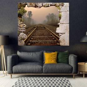 Tableau décoratif mur marbré - chemin de fer