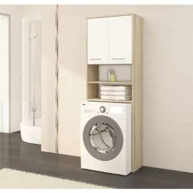 Rangement Pour Machine A Laver - Chêne et Blanc