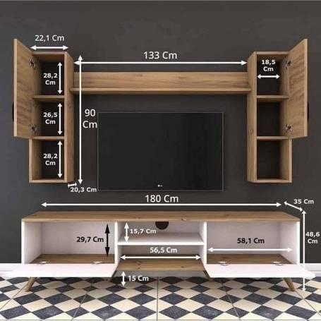 Meuble TV Classe - Chêne et Marron