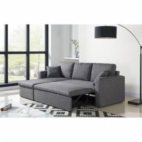Canapé d'angle réversible + Coffre de rangement-223 x P 150 cm-Gris