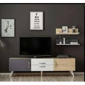 Living TV Avec Deux Etagéres Mural -Gris-Blanc-Chêne