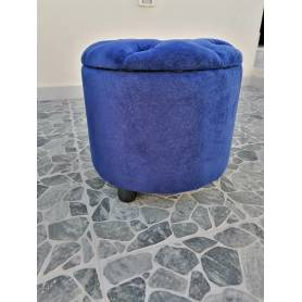 Pouf coffre de rangement - Rond - Bleu