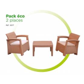 Salon Jardin Rotin Sofpince - Light Taupe - 2 Places - pack Eco  - Original