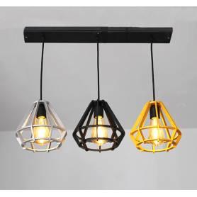 Suspension 3 Lampes – Argent Noir Doré