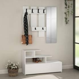 Porte Chaussures Avec Porte Manteau Et Miroir-Blanc