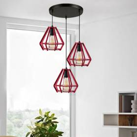 Suspension 3 Lampes–Rouge