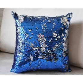 Coussin A Paillettes Réversible – Bleu Foncé