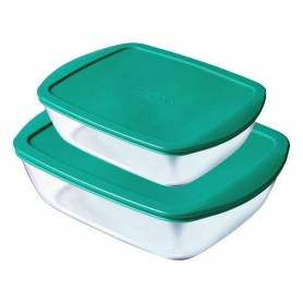 Cook & Store - Lot de 2 plats rectangulaires + couvercle vert (23x15 + 28x20 cm)