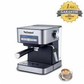Techwood Cafétiere Expresoo - 2 Tasses -1.6L -15 Bars- TCA-170 - Inox - Garantie 1an