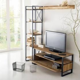 Meuble tv chene et acier