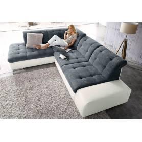 Canapé d'angle Sandra - 290*220 - Gris et blanc