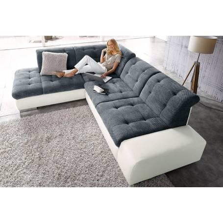 Canapé d'angle Sandra - 230*220 - Gris et blanc
