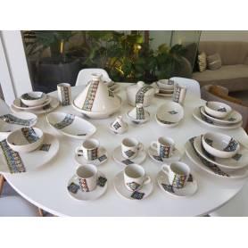Service à Table 42 pièces Artisanal Margoum -Blanc-Bleu