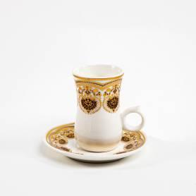 Service a Thé en porcelaine-Blanc-Doré