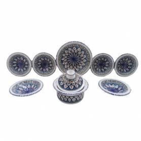 Service à couscous 9 pièces poterie fait main-Luisa bleu