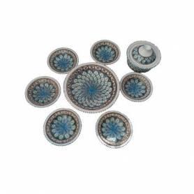 Service à Couscous 9 pièces poterie fait main Luisa-turquoise