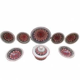 Service à table 9 pièces poterie fait main Luisa Rouge