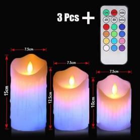 Lot Trois Bougies Led RGB - Multi couleur avec Télécommande - Cire Véritable