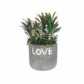 Plante Artificielle -Vert- LOVE - avec pot en Céramique - Gris