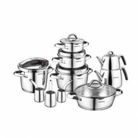 Korkmaz Batterie de cuisine - SET de 17 Piéces - Inox- Vertex - A1705 - Garantie 1 an