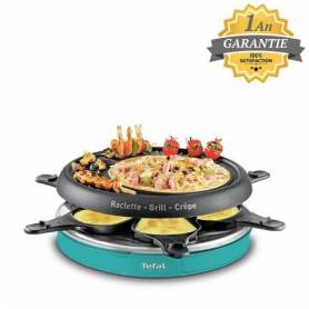 Tefal Raclette 3 en 1 - Raclette grill crepe - RE129412 - 850W - Bleu - Garantie 1 an