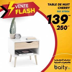 vente flash - Foire du meuble I Table De Nuit Cherry- 45*35*35- Mdf stratifié Blanc-Chêne sonoma