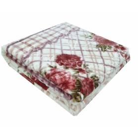 Flora Couverture -Fleurie Rouge&Violet- 240x220 cm