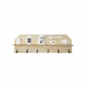Support Rangement - 6 Crochets - Bois - 40 X 13 Cm
