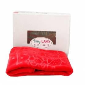 Baby Land Couverture Bébé - Ultra Douce - 94cmX110cm - Rouge - Fille & Garçon