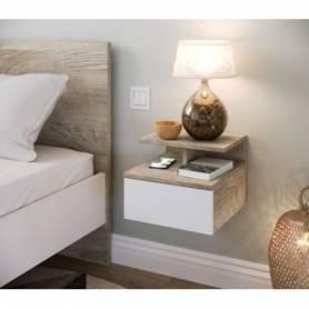 Table de nuit Perla suspendu- 30*35*35- Mdf stratifié blanc et chêne sonoma