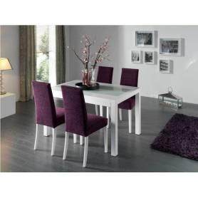 Salle à manger Flora - table & 4 chaises-120*70*78cm- mdf stratifié blanc brillant