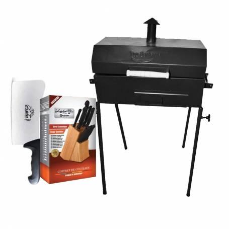 Pack Aid barbecue au charbon sur pied  +  sekkinox couperet professionnel  +   sekkinox coffret