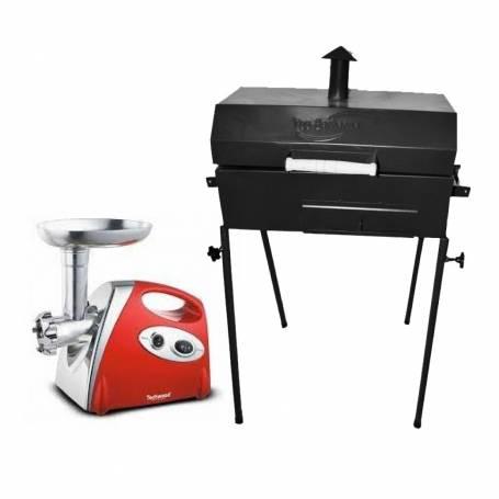 Pack Aid Barbecue au charbon sur pieds démontable + HACHOIR À VIANDE TECHWOOD 500W - ROUGE