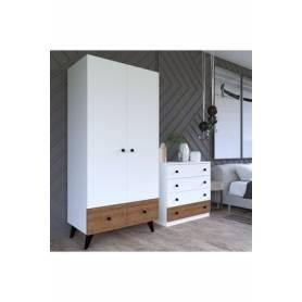 Pack kids- armoire &commode - mdf stratifié blanc & marron