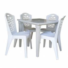 Sofpince Lot de 4 chaises + Table carre - Opera - Blanc